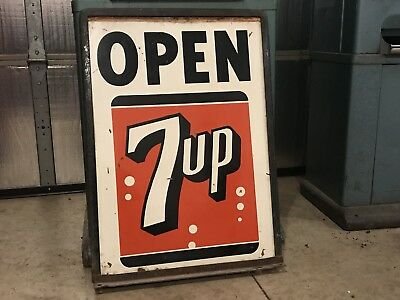 "Vintage 7Up Metal Double Sided Curb Sign With Original Frame 20.5"" X 28"" Soda"