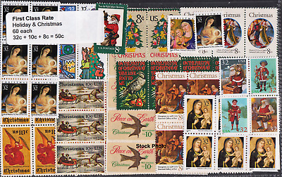 US Postage Holiday & Christmas Below Face (60 each 32c + 10c + 8c), Mint