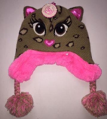 624868b8180 NEW Girl s Cute Leopard Cat Animal Beanie Ear Flap Faux Fur Hat Size Small  ...