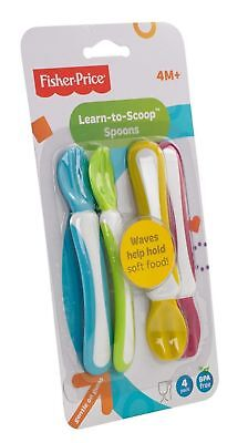 Fisher Price Learn to Scoop First Feeding Spoon for Baby 4pcs Pack Bpa Free 3034
