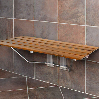 "Clevr 36"" ADA Compliant Double Seat Teak Wood Folding Wall Shower Bench Modern"