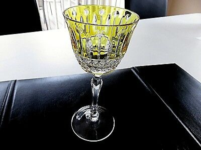 """New Signed Faberge Xenia 7 3/8"""" Yellow Wine Crystal Goblet/Glass"""