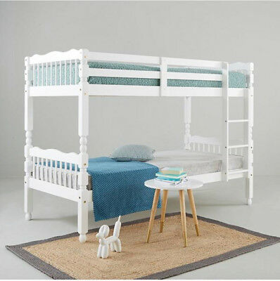 Spindle Solid Pine Detachable Bunk Bed In White