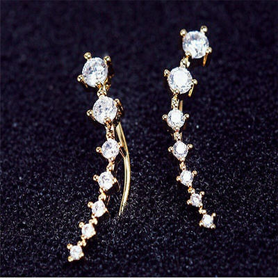 Yellow Gold Plated Sweep up Ear Pin Crawler Cuff Wrap Climber Earrings with 7 CZ