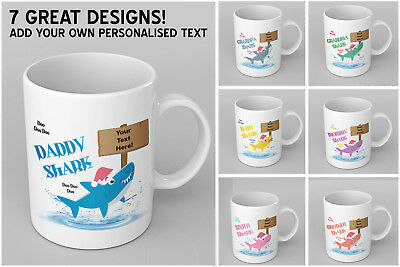 PERSONALISED Christmas theme Daddy, Mommy, Baby Shark printed Ceramic Mug / Cup