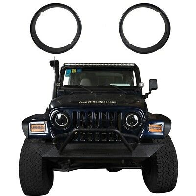 Bright Black ABS Plastic Headlight Trim Cover Fit Jeep Wrangler 1997-2006 TJ