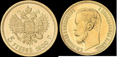 5 roubles 1900 NGC MS62 Rare Russian Gold Coin,perfect Xmass gift