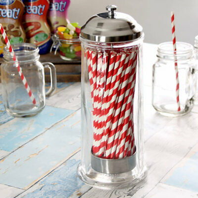 Glass Straw Dispenser | Retro Straw Dispenser, Vintage Straw Dispenser