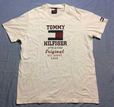 6eb27a5f Vintage 90s TOMMY HILFIGER Spell Out Signature Big Flag T Shirt 90's Men's  S/M
