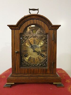 Vintage Dutch Warmink Table clock with Moon Phase, Oak Wood body (1977)