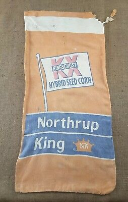 Vintage Northrup King KINGSCROST Hybrid Seed Corn Cloth Sack Bag -1950's