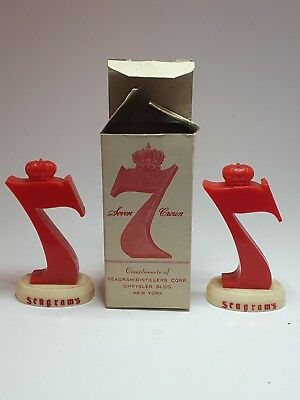 Vintage 1950's SEAGRAM'S 7 Whiskey Figural SALT & PEPPER Shakers with Box