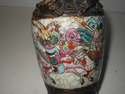+ Rare Stamped Ancient Chinese Vase 25 cm Wonderful sculpted Dragons & Warriors