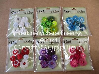 Petaloo Mini Ribbon Flower X 5 Assorted Pcs Choose 1 Color
