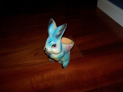 Vintage Chalkware Easter Bunny Rabbit Planter Basket