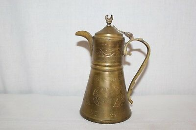 Antique Vintage ornate Inscribed Brass Islamic Dallah Coffee Tea Pot