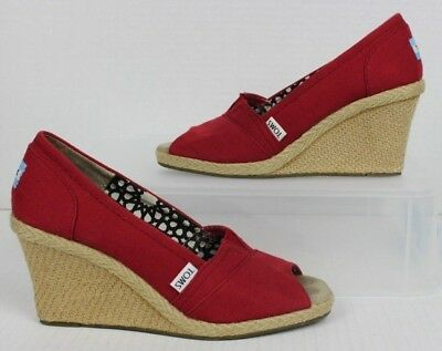 d5b8f33534f TOMS Red Canvas Peep Toe Wedge Espadrille Shoes Women s Size 8 Rope Heels  VGUC