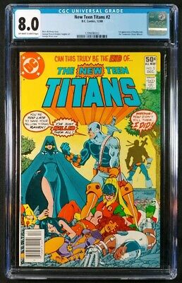 New Teen Titans #2 CGC 8.0! 1st Appearance of Deathstroke! (DC Comics 1980)