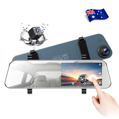 "TOGUARD 8"" Dual Lens Dash Cam Touch Screen Mirror Rear View 1080P Backup Camera"