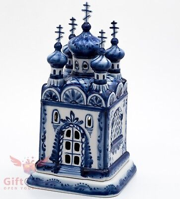 Gzhel Porcelain Candlestick Holder in shape of Orthodox Church or Chapel