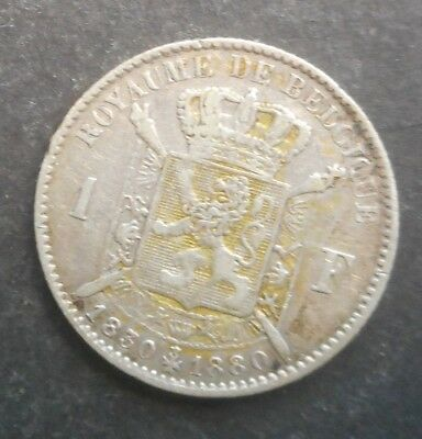 Belgium  1880 Anniversary of Independence   1 Franc Silver Coin