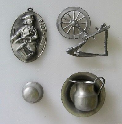 5 Vtg COLONIAL PEWTER Figurines LOT BiCentennial Medal PITCHER Thimble Spin Whel