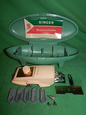 Vintage 1960 Singer Sewing Machine  Buttonholer Attachment & Parts & Case