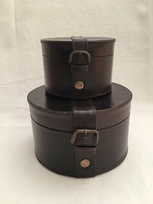 Lot 2 Hat Box Style Gift Box Leather Buckle Snap Strap