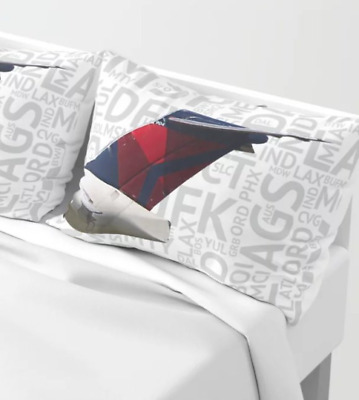 Delta Airlines MD-88 with Airport Codes - Standard Set of Pillow Shams