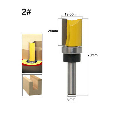 25mm Metric Double Flute Straight Router Bit Flush Trim Cutter 8mm 3/4 Cuter