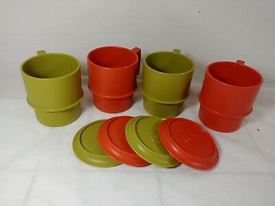 Vintage Tupperware Set of 4 Coffee Cups/Mugs With Coasters/Lids