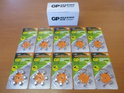 60x GP ZA13 1.45V PR48 AC13 Zinc Air Button Cell Hearing Aid Battery Batteries