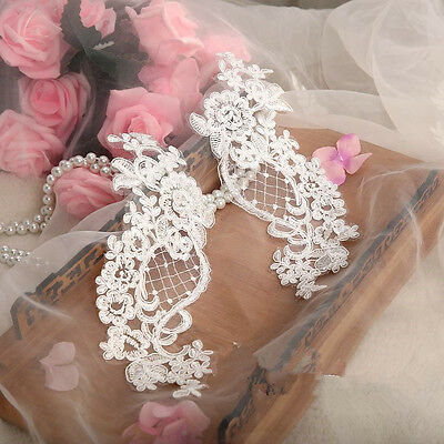 1 Pair Bridal Lace Applique Floral Corded Wedding Motif Ivory Embroidered Trim
