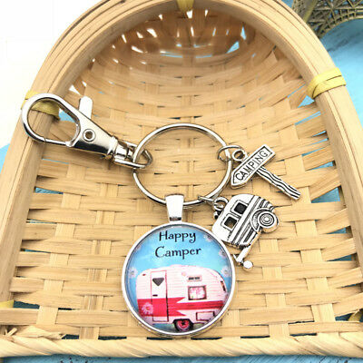 1pcs Happy Camper Keychain with Camper Charm Camping Keyring ,Camper car