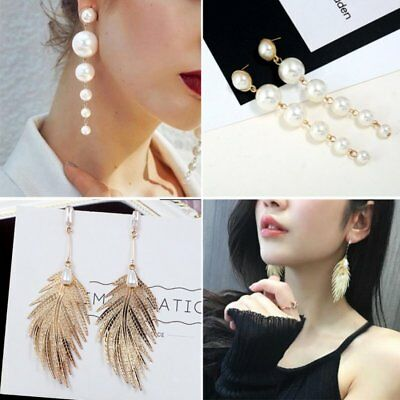 Charm Long Pearl Leaf Feather Earrings Bridal Ear Stud Drop Dangle Women Jewelry
