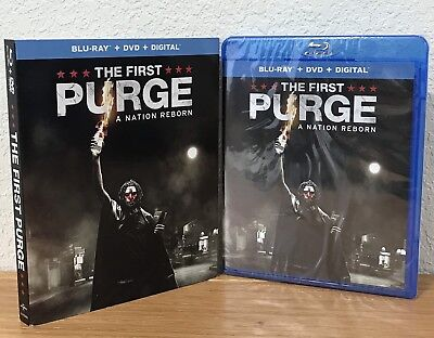 THE FIRST PURGE: A NATION REBORN (Blu-Ray/DVD/Digital, 2018) w/SLIPCOVER SEALED!