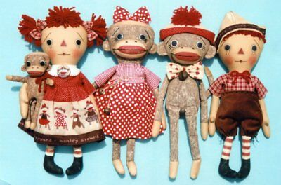 """*New* Cloth Folk Art Doll (Paper) Pattern """"Monkeying Around"""" By Ginny Lettorale"""