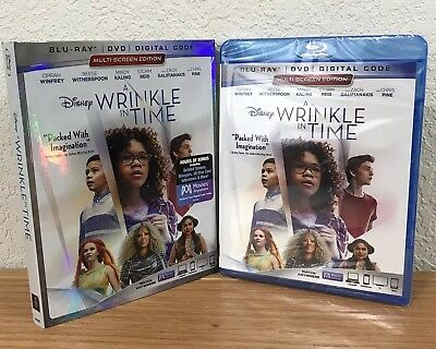 DISNEY ~ A WRINKLE IN TIME (Blu-Ray/DVD/Digital, 2018) with SLIPCOVER ~ SEALED!