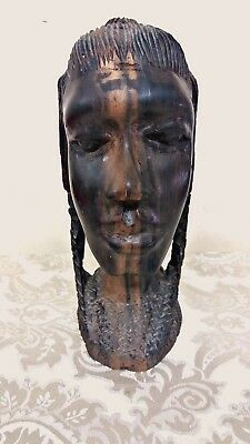 African antique engraving carved art, wooden handmade, portrait, tribal, woman