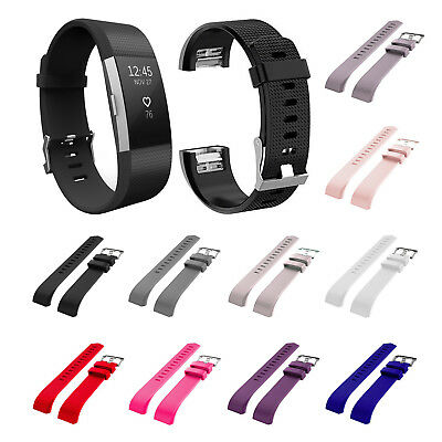 For Fitbit Charge 2 Replacement Wrist Straps bands Metal Buckle Soft Silicone