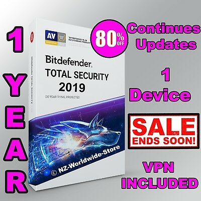 Bitdefender Total Security 2019 - 1 Year 1 Device Activation - Download