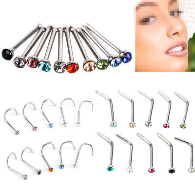10 Pcs Surgical Steel Small Gem Crystal Screw Nose Stud Ring Body Piercing