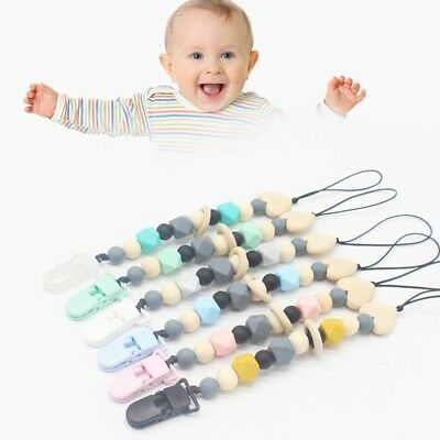 Baby Dummy Clip Holder Pacifier Clips Soother Chains Silicone Bead Teething YX