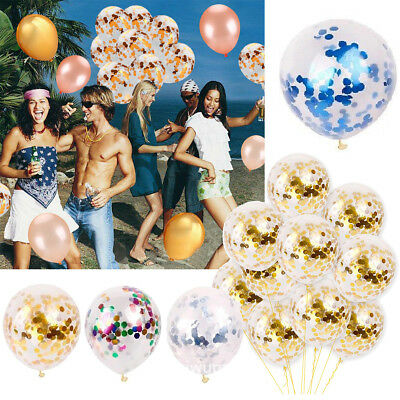 "20PCS 12"" Confetti Filled Balloons Happy Birthday Party Wedding Christmas Decor"