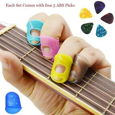 Bass/Ukulele Guitar 4 Finger Protectors Plectrum Thumb Fingertip Cover + 5 Picks