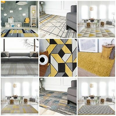 Modern Ochre Gold Mustard Popular Rug For Living Room Soft Warm Yellow & Grey