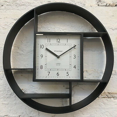 Vintage Black Wooden Wall Shelf Home Storage Display Shelving Unit With Clock