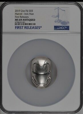 2018 Fiji 2oz Silver Coin Marvel Icon Iron Man Mask First release NGC MS69
