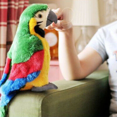 26cm Electric Plush Simulation Parrot Toy Cute Pretty Macaw Doll Kids Xmas Gifts
