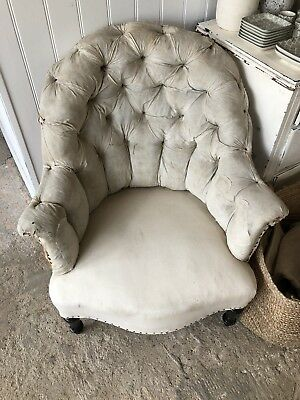 Upholstery Inc French Button Back Antique Chair 1900's Ready For Upholstery Antiques Chairs